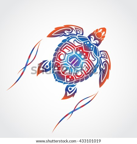 Turtle in a tribal. - stock vector