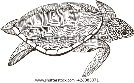 Turtle in zentangle zenart doodle style, isolated on white background. Hand drawn sketch for adult antistress coloring page, logo or tattoo with doodle, zen, line and dot design elements. - stock vector