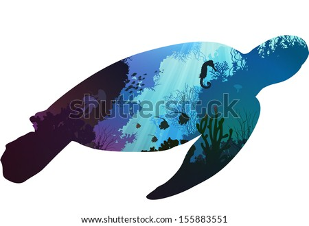 turtle. inside the underwater world of coral reefs and various marine inhabitants. white background, vector illustration - stock vector