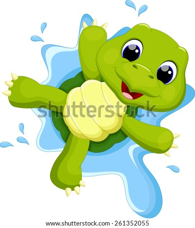 Turtle playing on the water - stock vector