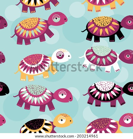 turtle Seamless pattern with funny cute animal on a blue background. Vector - stock vector