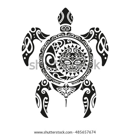 immagine vettoriale stock a tema turtle tattoo maori style. Black Bedroom Furniture Sets. Home Design Ideas