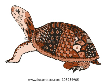 Turtle zentangle stylized. vector, illustration, freehand pencil