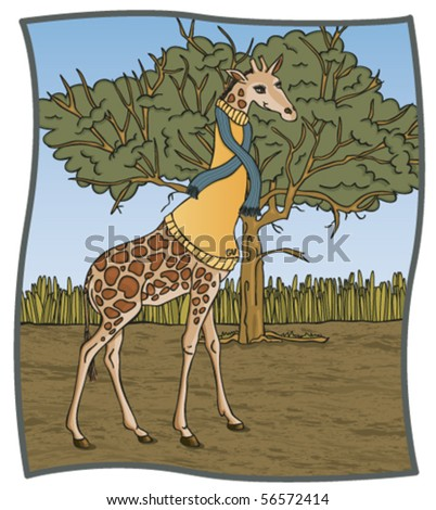 Turtleneck Giraffe - Click on my portfolio for more images in this series - stock vector