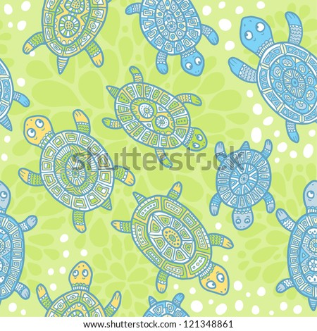 Turtles seamless pattern - green and blue - stock vector