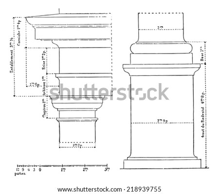 Tuscan order, vintage engraved illustration. Dictionary of words and things - Larive and Fleury - 1895. - stock vector