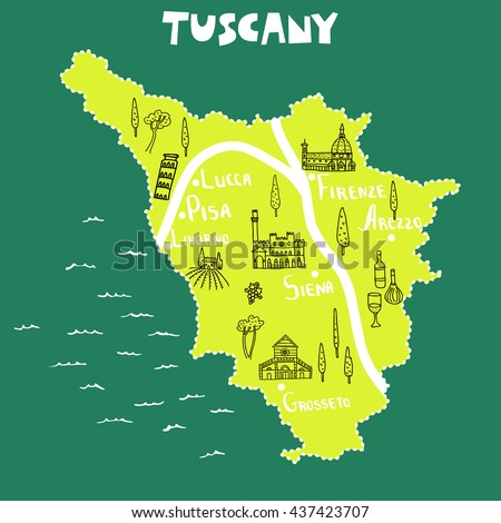Tuscany Map Print Design Concept Creative Stock Vector - Map tuscany