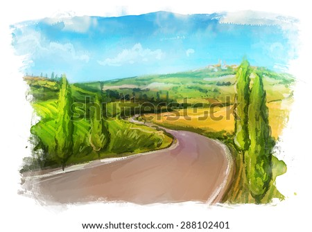 Tuscany: Rural landscape with fields and hills. Watercolor Illustration. - stock vector