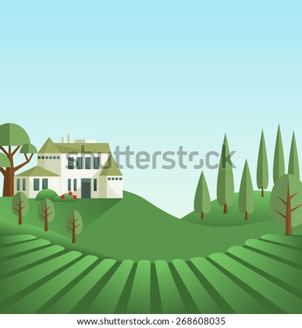Tuscany scene. Illustration with traditional rural south Europe landscape. Green field and hills, toll trees, bright light and old castle. Historical place flat mixed style. Vector file is EPS8. - stock vector