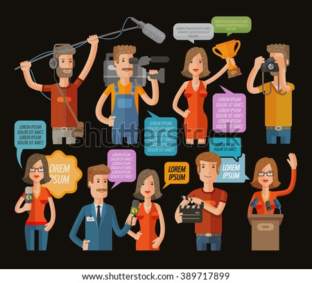 TV and journalism icon collection. vector illustration - stock vector
