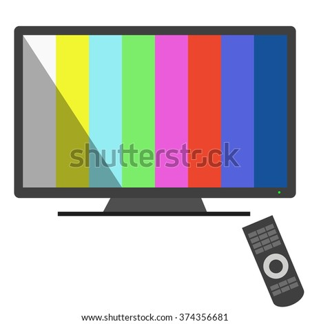 TV and remote control flat design vector - stock vector