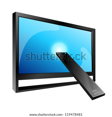 TV and Remote control, vector - stock vector