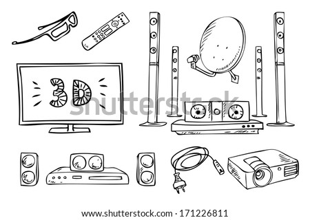 tv and sound household appliances vector set - stock vector