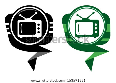TV black and green pointer - stock vector