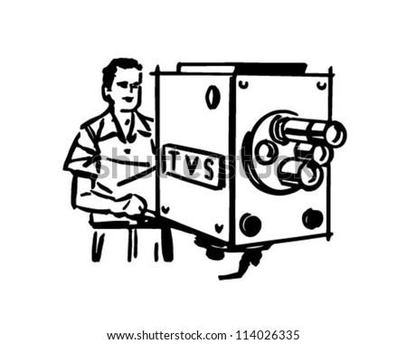 TV Cameraman - Retro Clipart Illustration - stock vector