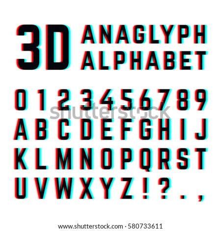 Tv Distortion 3D Effect Stereoscopic Anaglyph Alphabet And Numbers English With
