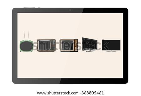Tv evolution background - stock vector