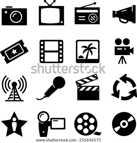 TV, film, radio and broadcasting icon set. Vector icons for digital and print projects.