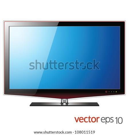 TV flat lcd screen, realistic vector illustration - stock vector