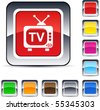 TV glossy square web buttons. - stock vector