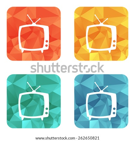 TV icon flat simple symbol. Vector illustration - stock vector