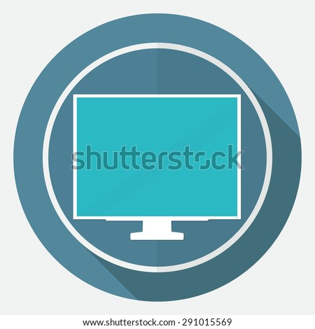 TV icon on white circle with a long shadow - stock vector