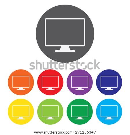 TV Icon Set - stock vector