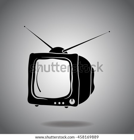 TV icon vector. Flat icon on gray background. Simple illustration.