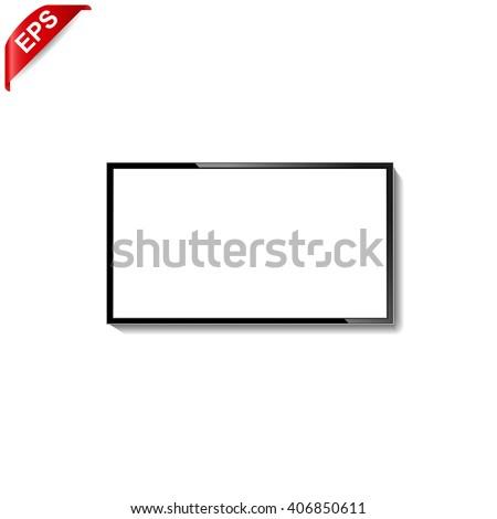 tv icon, vector modern led tv, isolated tv screen blank - stock vector