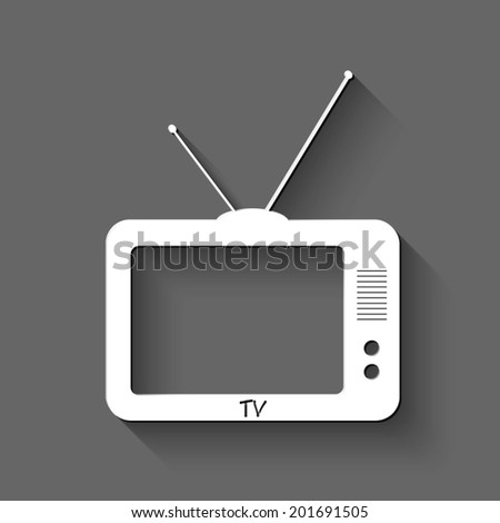 TV icon - white vector illustration with shadow on gray background - stock vector