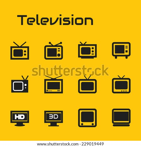 TV icons - stock vector