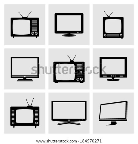 TV icons set - stock vector