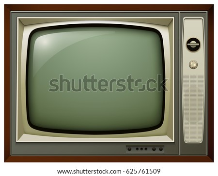 TV isolated, 3D vintage vector illustration.