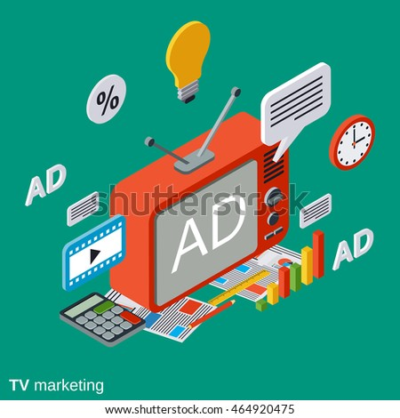 TV marketing, advertisement flat isometric vector concept illustration