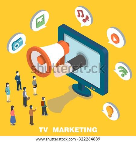 TV marketing concept in 3d isometric flat design - stock vector