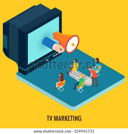 TV marketing concept. Isometric 3d vector - stock vector