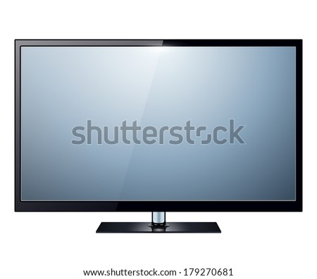 TV, modern flat screen lcd, led, isolated - stock vector