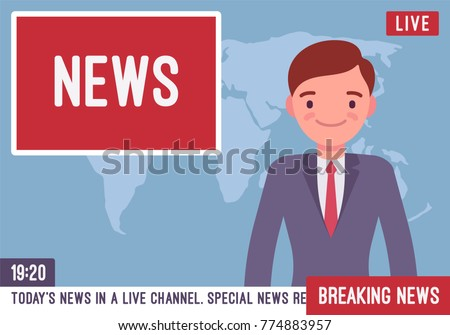 TV News Anchorman Young Man Main Reader On A Television Program Media