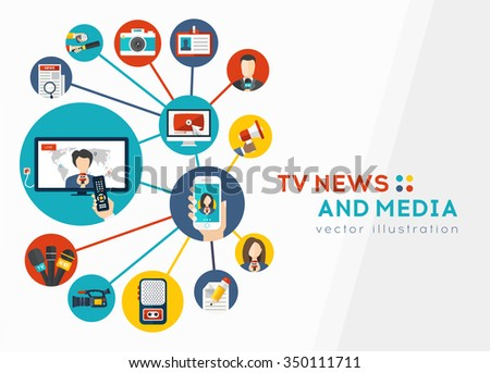 TV news and Media concept background. Icons of journalistic tools and newsreader equipment, Mobile news and Paparazzi. Abstract News background. Vector illustration - stock vector