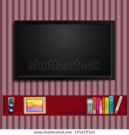 TV on wall and a bookshelf - stock vector