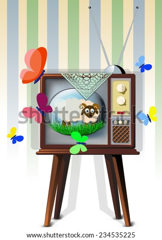 TV on wallpaper background which shows the lamb, the symbol of two thousand fifteenth and butterflies fly around - stock vector