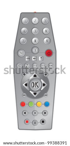 TV Plastic remote, isolated objects on white background - stock vector