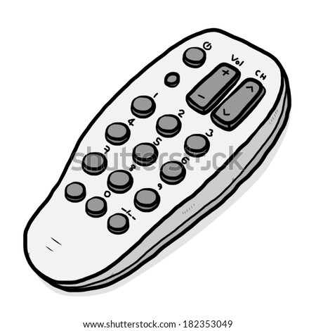TV  remote / cartoon vector and illustration, grayscale, hand drawn style, isolated on white background. - stock vector