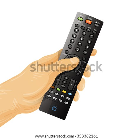 TV remote control in hand isolated on white background - stock vector