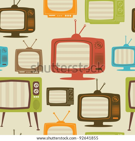 Tv retro seamless pattern. Colorful abstract vector background. - stock vector