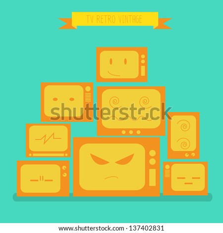 TV retro vintage. eps10 - stock vector