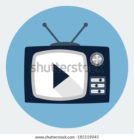 Tv set icon - stock vector
