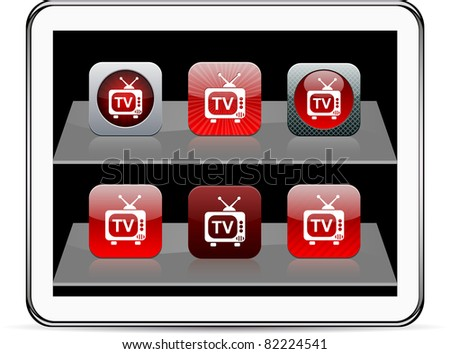 TV Set of apps icons. Vector illustration doesn't contain transparency and other effects. EPS8 Only. - stock vector