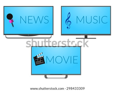 Tv set with music, news and movies screen. New models of led panel. News, movie and music icons. Modern television device. High definition video. Ultra slim media gadget. Crystal and wide cinema view. - stock vector