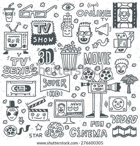 TV Shows, Series and Movies Funny Doodle Vector set. Hand drawn illustration. Monochrome pattern. - stock vector